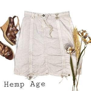 NEW Hemp Age Beige Cargo Cinch Drawstring Skirt S